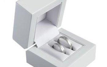 Bílá dřevěná dárková krabička na snubní prsteny -…