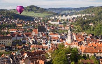 Let balónem nad Českým Krumlovem