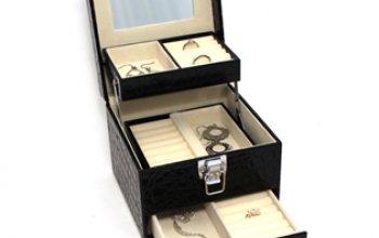 Šperkovnice - černá koženka - SVK1001