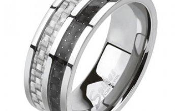 Páský ocelový prsten s karbonem - velikost 70 -…