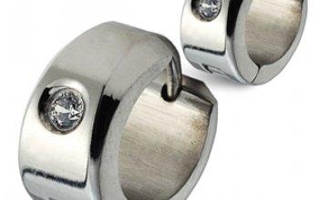 Ocelové náušnice - kroužky se zirkonem - OPN1517