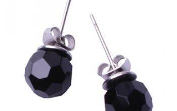 Ocelové náušnice s černými kamínky - OPN1042