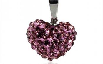 Ocelový přívěšek srdíčko - růžové krystaly -…