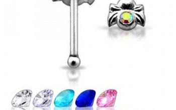 Stříbrný piercing do nosu - pavouček - N01041-C
