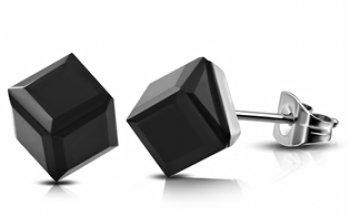 Ocelové náušnice - kostky černé - OPN1428
