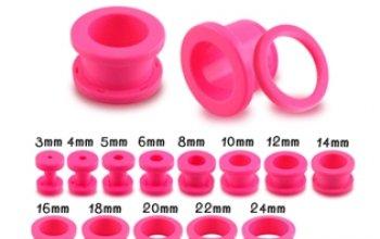 Růžový akrylátový tunel do ucha - TN01049-04