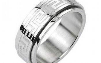 Ocelový rotační antistresový prsten s řeckým…
