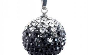 Ocelový přívěšek kulička 18 mm - čiré a černé…