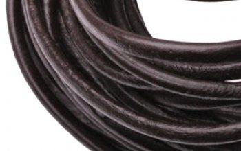 Kožená šňůrka kulatá tmavě hnědá, tl. 3 mm -…